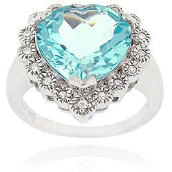 Glitzy Rocks Sterling Silver Blue Topaz and Cubic Zirconia Heart Ring
