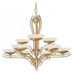 Halogen 9-light Satin Brass Chandelier - Thumbnail 1