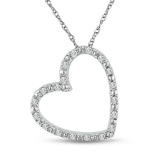 Miadora 10k White Gold 1/10ct TDW Diamond Heart Necklace (G-H, I2-I3)