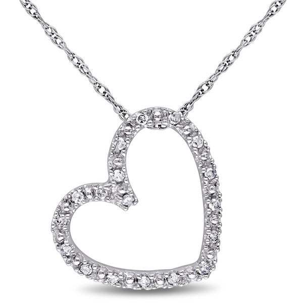 750694aef Shop Miadora 10k White Gold 1/10ct TDW Diamond Heart Necklace - On ...