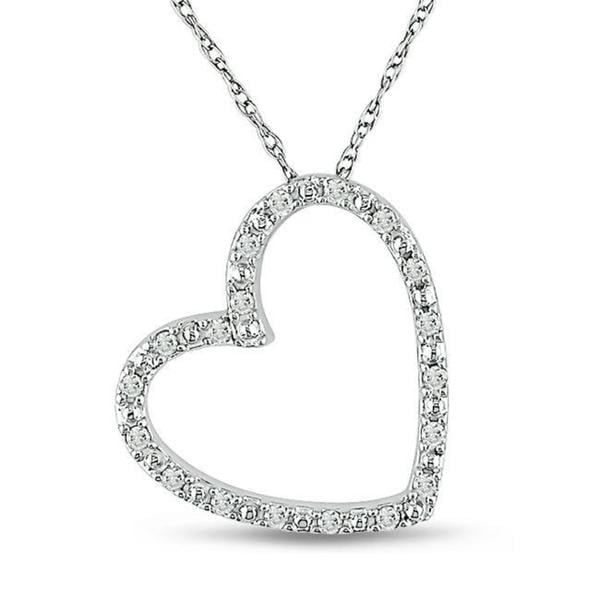 Miadora 10k White Gold 1/10ct TDW Diamond Heart Necklace (G-H, I2-I3)