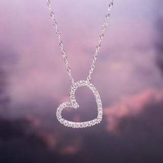 Link to Miadora 10k White Gold 1/10ct TDW Diamond Heart Necklace Similar Items in Necklaces