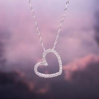 Miadora 10k White Gold 1/10ct TDW Diamond Heart Necklace