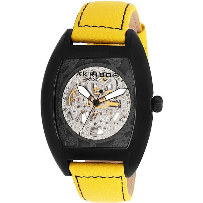Akribos XXIV Men's Yellow Stainless Steel Skeleton Automatic Tonneau Strap Watch