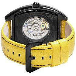 Akribos XXIV Men's Yellow Stainless Steel Skeleton Automatic Tonneau Strap Watch - Thumbnail 1