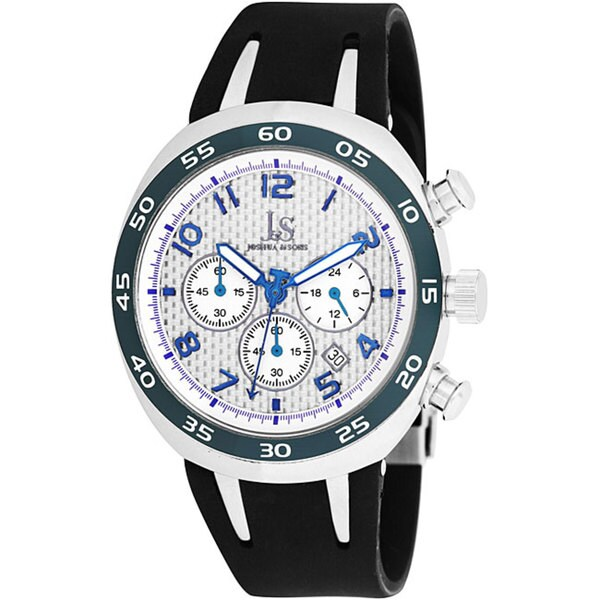 Joshua & Sons Men's Chronograph Steel Carbon Fiber Blue Strap Watch
