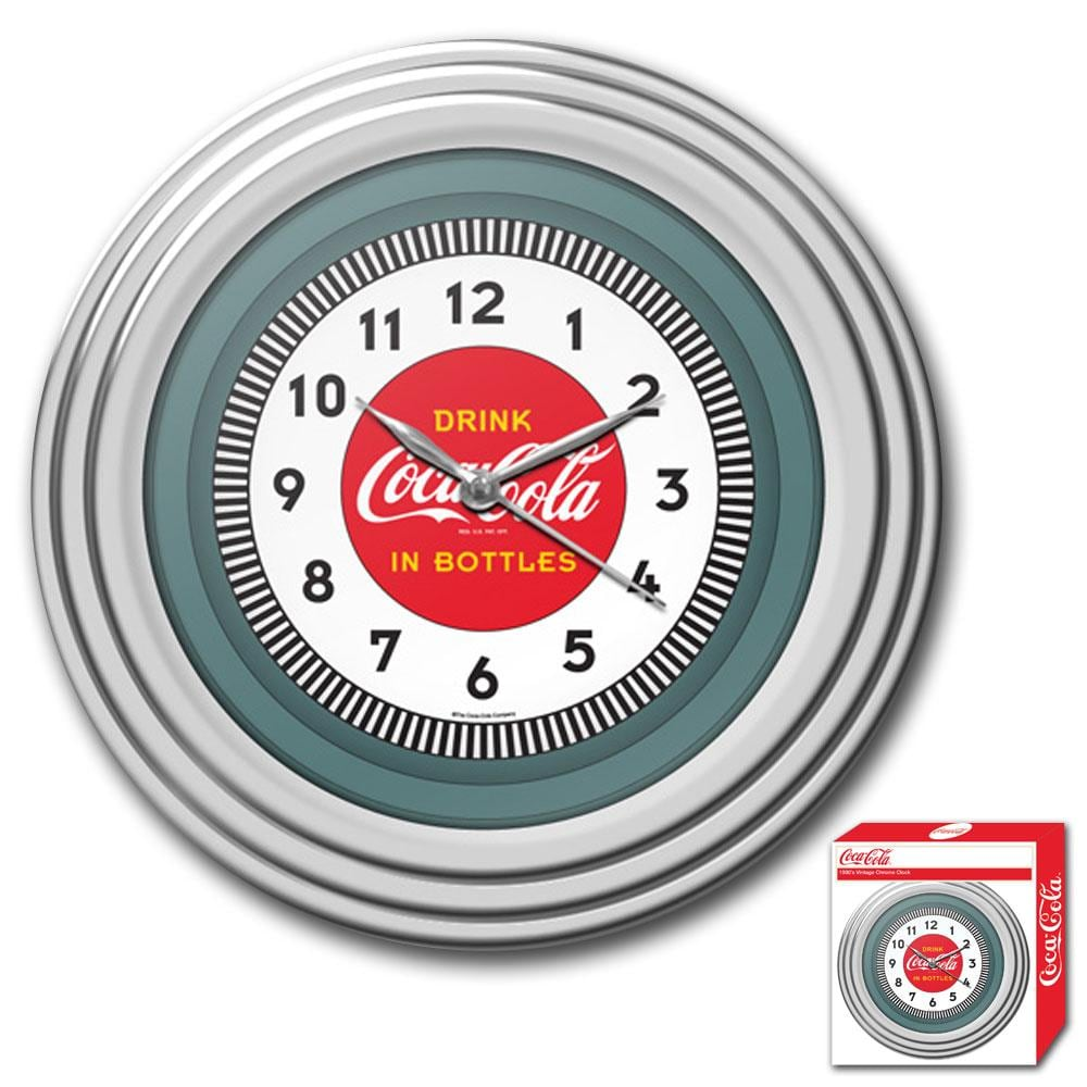 Shop 1930s Style Coca Cola Chrome Wall Clock Free