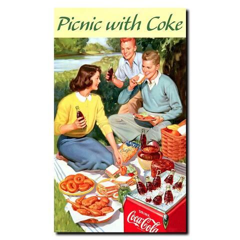 Picnic with Coke Vintage Canvas Framed Artwork