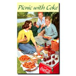 Picnic with Coke Vintage Canvas Framed Artwork