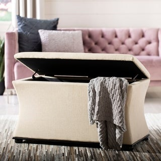 Safavieh Jonathan Cream Linen Storage Bench