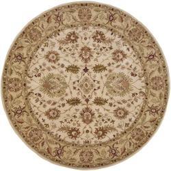 Hand-tufted Mandara Ivory Oriental Wool Rug (7'9 Round) - Thumbnail 2