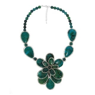 Handmade Silver Green Malachite and Onyx Necklace (Thailand)