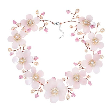 Handmade Silver Rose Quartz and Freshwater Pearl Collar Necklace (Thailand)
