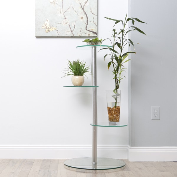 Glass 3-tier Silver Plant Stand