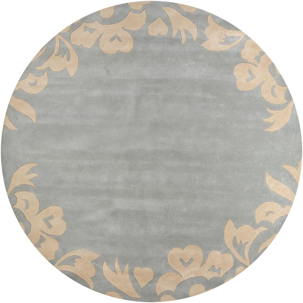 Hand-Tufted Mandara Blue Floral Wool Area Rug (7'9 Round)