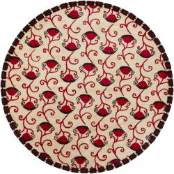 Artist's Loom Hand-tufted Contemporary Floral Wool Rug (7'9 Round) - Thumbnail 2