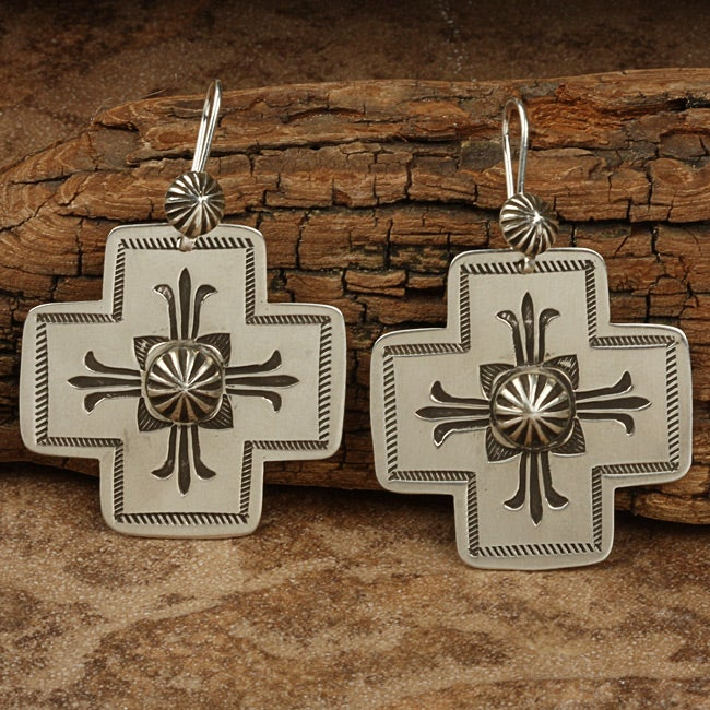 Sterling Silver Hand-stamped Large Cross Earrings (Native American)