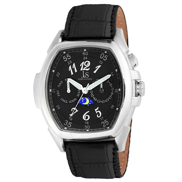 Joshua & Sons Men's Black Multi-function Strap Watch