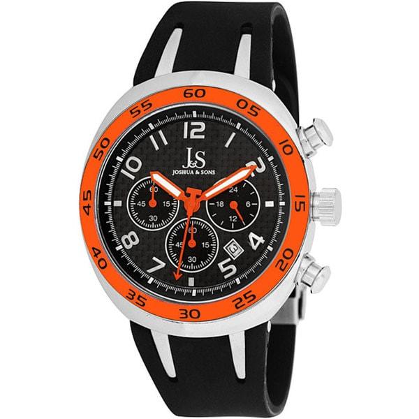 Joshua & Sons Men's Orange/ Black Chronograph Carbon Fiber Strap Watch