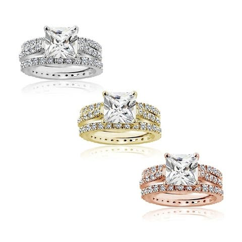 Icz Stonez Sterling Silver Cubic Zirconia Princess-Cut Bridal Ring Set