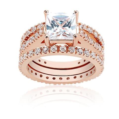 Icz Stonez Sterling Silver Cubic Zirconia Princess-Cut Bridal Ring Set