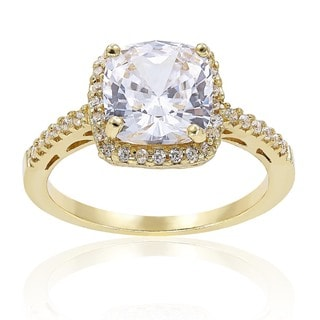 Icz Stonez Sterling Silver Square-cut Cubic Zirconia Ring