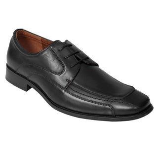 Scandro Footwear Men's Black Leather Square-Toe Oxfords