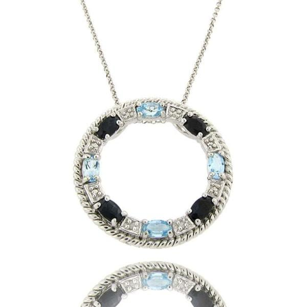 Dolce Giavonna Sterling Silver Sapphire, Blue Topaz, and Diamond Accent Circle Necklace