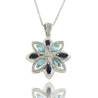Dolce Giavonna Sterling Silver Blue Sapphire, Blue Topaz, and Diamond Accent Flower Necklace