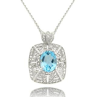 Dolce Giavonna Sterling Silver Blue Topaz and Diamond Accent Necklace