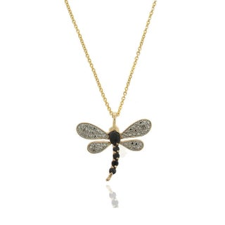 Dolce Giavonna Sterling Silver Gemstone and Diamond Accent Dragonfly Necklace (3 options available)