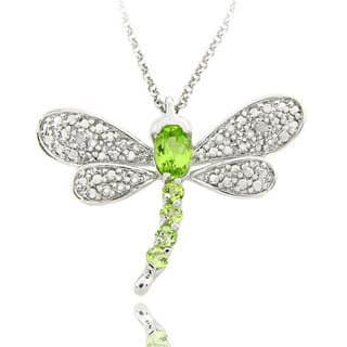 Dolce Giavonna Sterling Silver Gemstone and Diamond Accent Dragonfly Necklace https://ak1.ostkcdn.com/images/products/5254152/P13073891.jpg?impolicy=medium