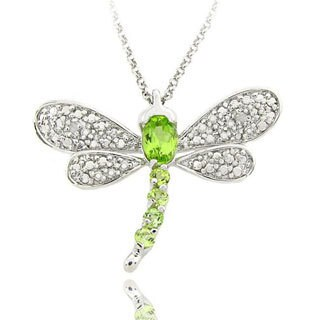 Dolce Giavonna Sterling Silver Gemstone and Diamond Accent Dragonfly Necklace (2 options available)