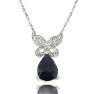 Dolce Giavonna Sterling Silver Sapphire and Diamond Accent Butterfly Necklace