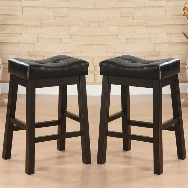 Hadden Bicast Leather Tufted Saddle Counter Stools (Set of 2) - Thumbnail 0