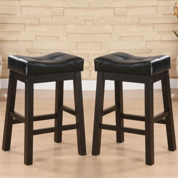 Shop Hadden Bicast Leather Tufted Saddle Counter Stools