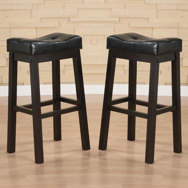 Hadden Bicast Leather 30 Inches Height Tufted Saddle Barstool Set Of 2 Overstock 5254753