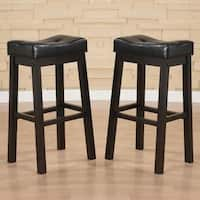 Hadden Bicast Leather 30 inches Height Tufted Saddle Barstool (Set of 2)