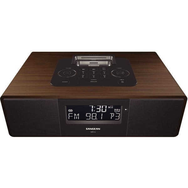 Sangean WR-5 Desktop Clock Radio - 5 W RMS - Stereo - Apple Dock Inte