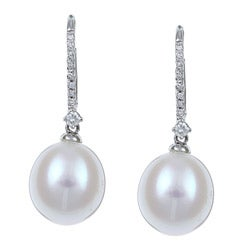 Kabella 14K White Gold Bridal Pearl and 1/10ct TDW Diamond Earrings (9-10mm) (I-J, I2-I3)