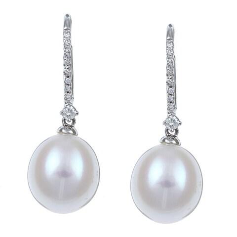 Kabella 14K White Gold Bridal Pearl and 1/10ct TDW Diamond Earrings (9-10mm) (I-J, I2-I3)