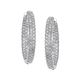 Eloquence 14k White Gold 1ct TDW Diamond Hoop Earrings (H-I, I1-I2)