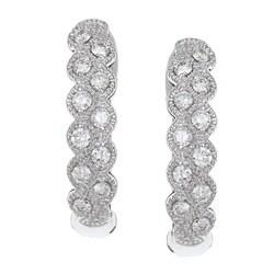 Eloquence 14k White Gold 1/3ct TDW Diamond Fashion Hoop Earrings (H-I, I1-I2)