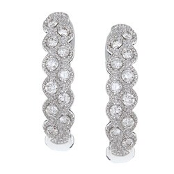 Eloquence 14k White Gold 1/3ct TDW Diamond Fashion Hoop Earrings