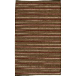 Hand-woven Multi Colored Stripe Casual Autumn Wool Rug (5'x8')