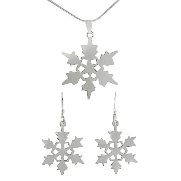 Journee Collection  Sterling Silver Snowflake Earrings/ Necklace Set