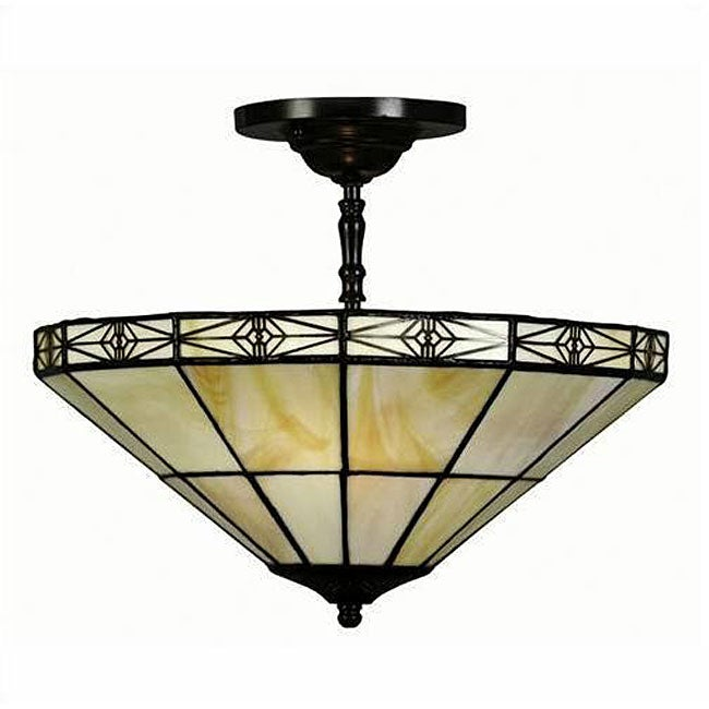 Tiffany-style Geometric Mission-style Hanging Lamp