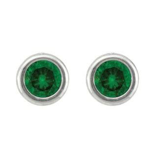 10k Gold Bezel-set Birthstone Designer Stud Earrings