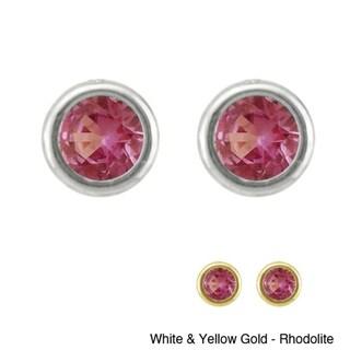10k Gold Bezel-set Birthstone Designer Stud Earrings