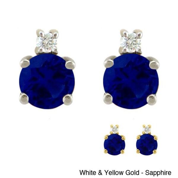 10k Gold Birthstone and Diamond Stud Earrings